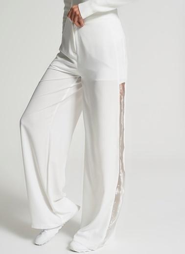 Pi π Yanları Organze Bol Paça Pantolon Beyaz
